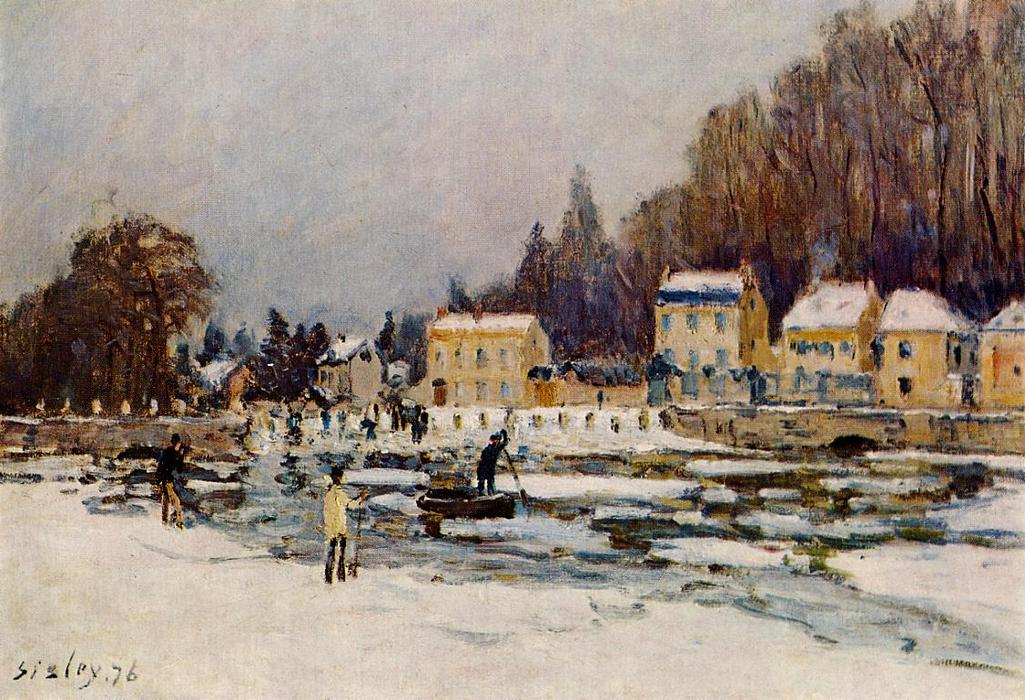 The Blocked Seine at Port Marly, Oil On Canvas by Alfred Sisley (1839-1899, France)