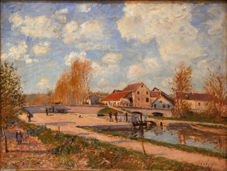 The Bourgogne Lock at Moret, Spring, Oil On Canvas by Alfred Sisley (1839-1899, France)