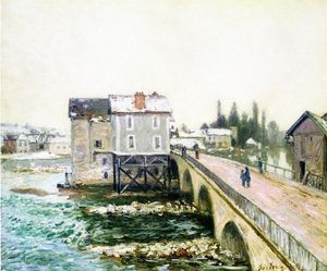 Alfred Sisley - The Bridge and Mills of Moret, Winter s Effect
