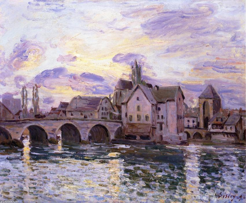 The Bridge at Moret at Sunset, 1892 by Alfred Sisley (1839-1899, France) | Oil Painting | WahooArt.com