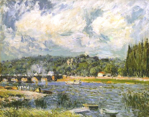 The Bridge of Sevres, Oil On Canvas by Alfred Sisley (1839-1899, France)