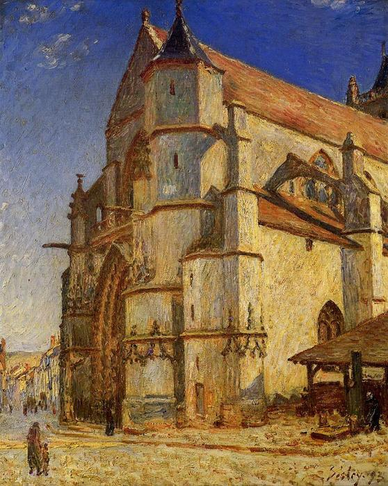 The Church at Moret in Morning Sun, Oil On Canvas by Alfred Sisley (1839-1899, France)