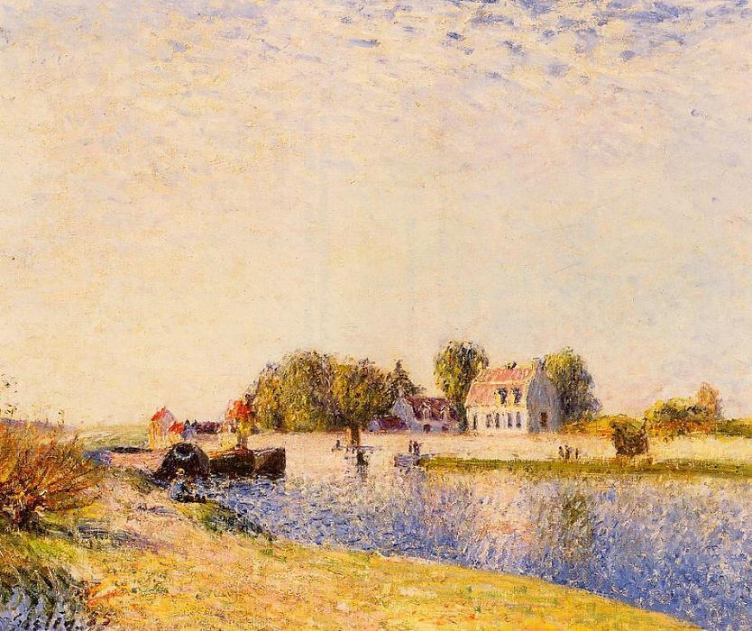 The Dam on the Loing Barges, Oil On Canvas by Alfred Sisley (1839-1899, France)