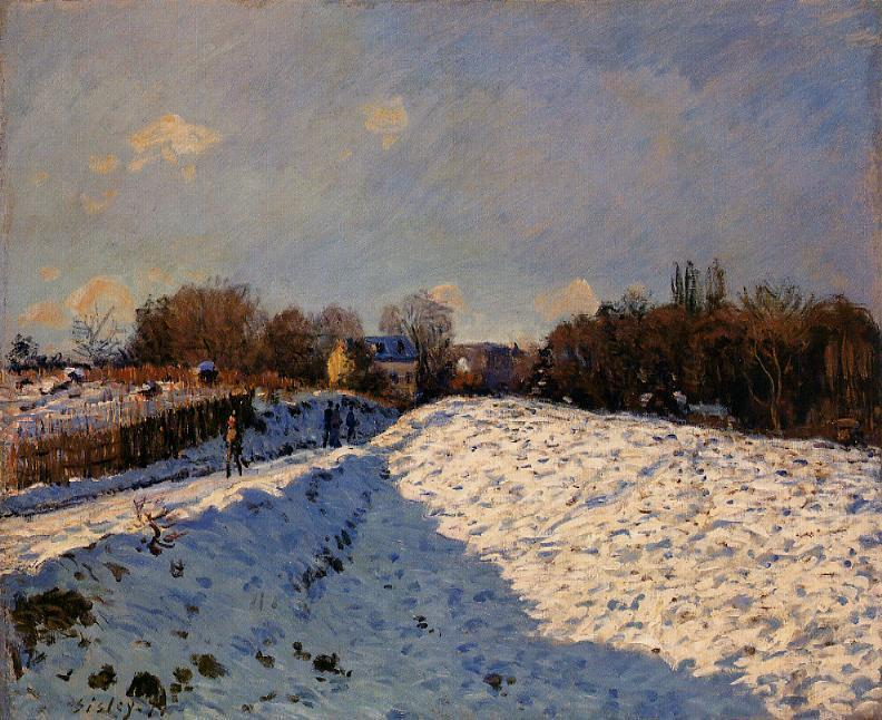 The Effect of Snow at Argenteuil, Oil On Canvas by Alfred Sisley (1839-1899, France)