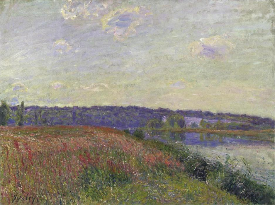 The Fields and Hills of Veneux Nadon, Oil On Canvas by Alfred Sisley (1839-1899, France)
