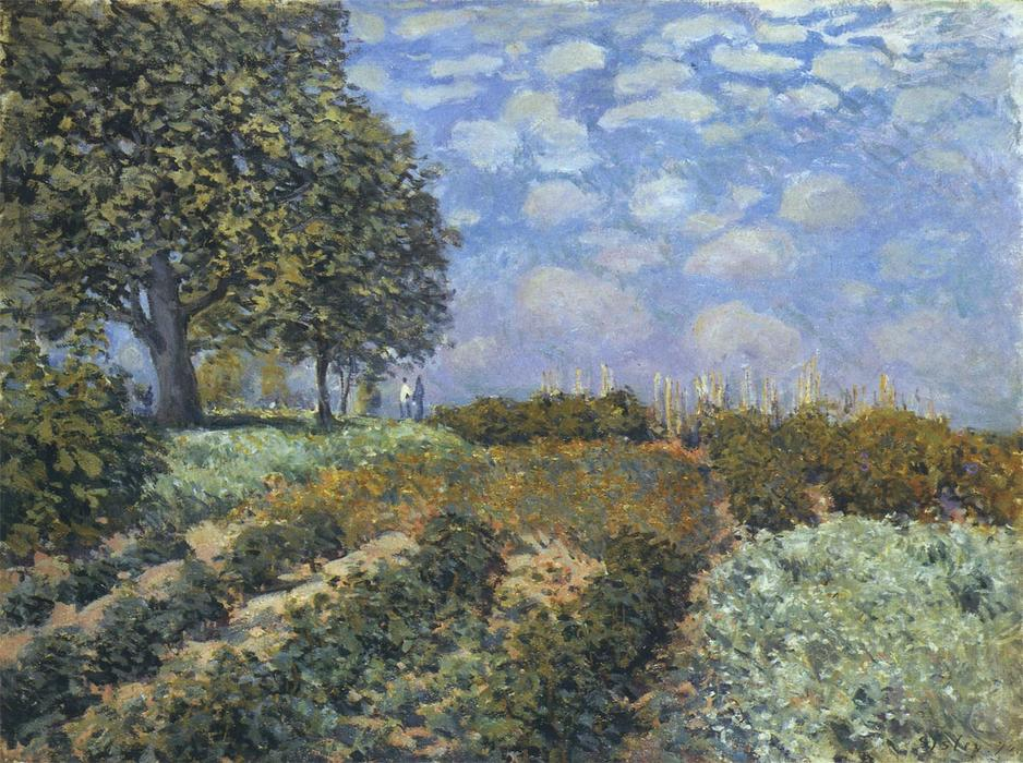 The Fields, 1874 by Alfred Sisley (1839-1899, France) | Art Reproductions Alfred Sisley | WahooArt.com
