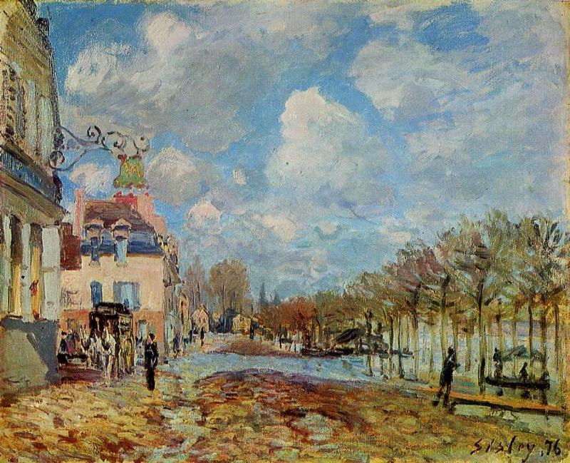 The Flood at Port Marly, Oil On Canvas by Alfred Sisley (1839-1899, France)