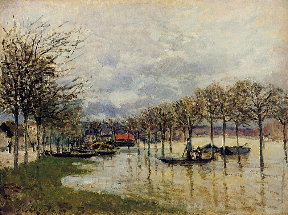 The Flood on the Road to Saint Germain, Oil On Canvas by Alfred Sisley (1839-1899, France)