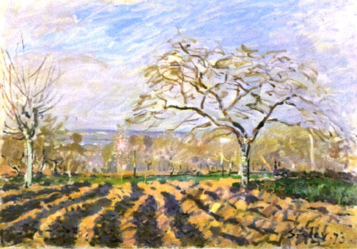 The Furrows, 1873 by Alfred Sisley (1839-1899, France) | Museum Quality Reproductions | WahooArt.com