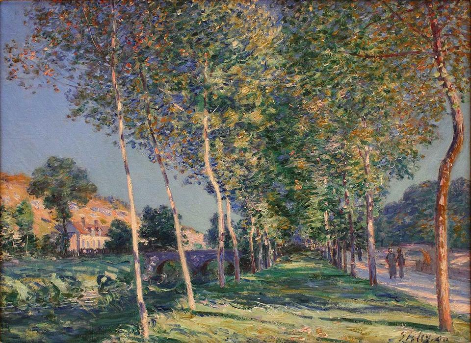 The Lane of Poplars at Moret Sur Loing, Oil On Canvas by Alfred Sisley (1839-1899, France)
