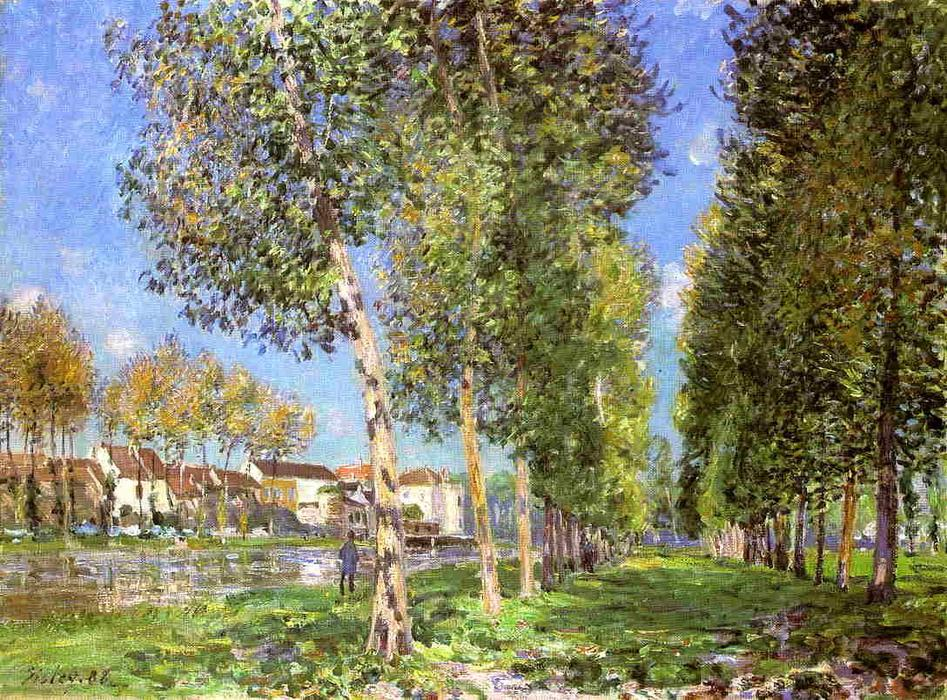 The Lane of Poplars at Moret-Sur-Loing, Oil by Alfred Sisley (1839-1899, France)