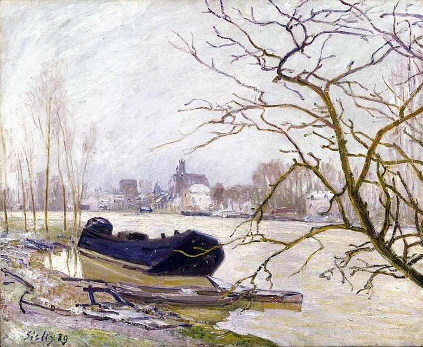 The Loing at High Water, 1889 by Alfred Sisley (1839-1899, France) | Art Reproduction | WahooArt.com