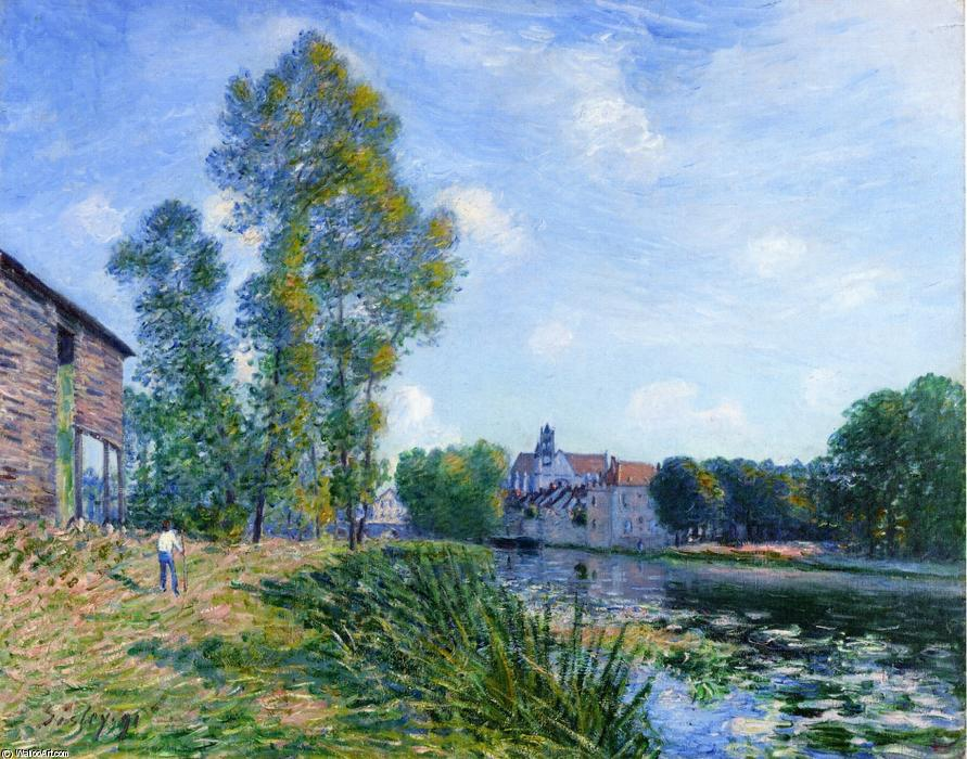 The Loing at Moret in Summer, Oil On Canvas by Alfred Sisley (1839-1899, France)
