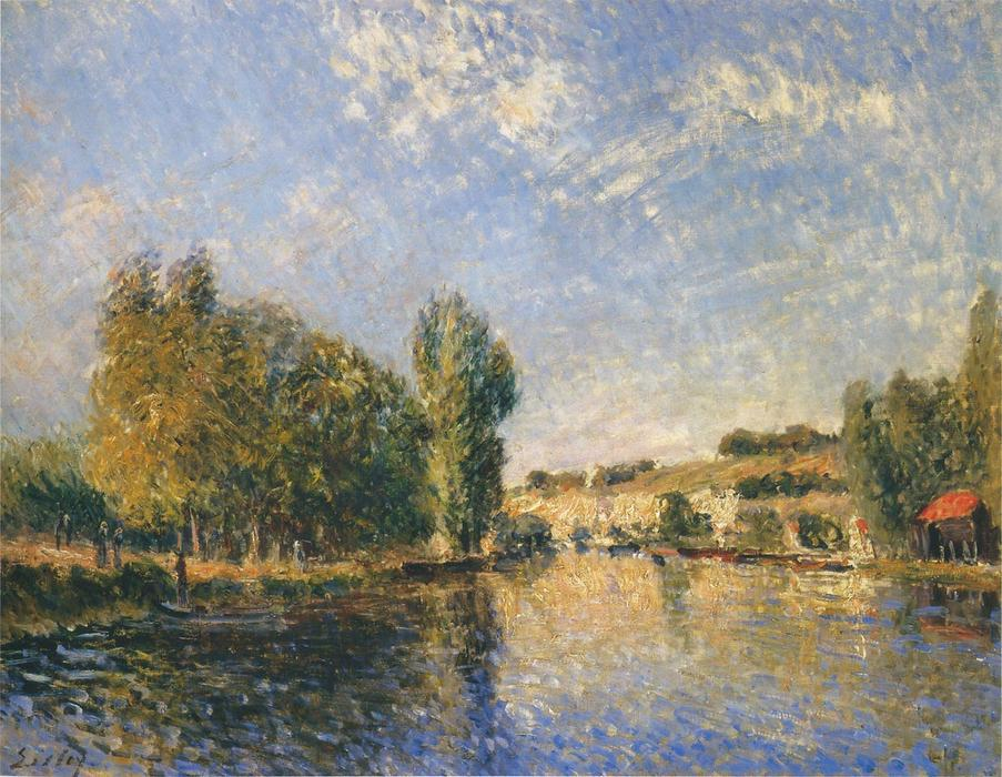 The Loing at Moret, Oil On Canvas by Alfred Sisley (1839-1899, France)