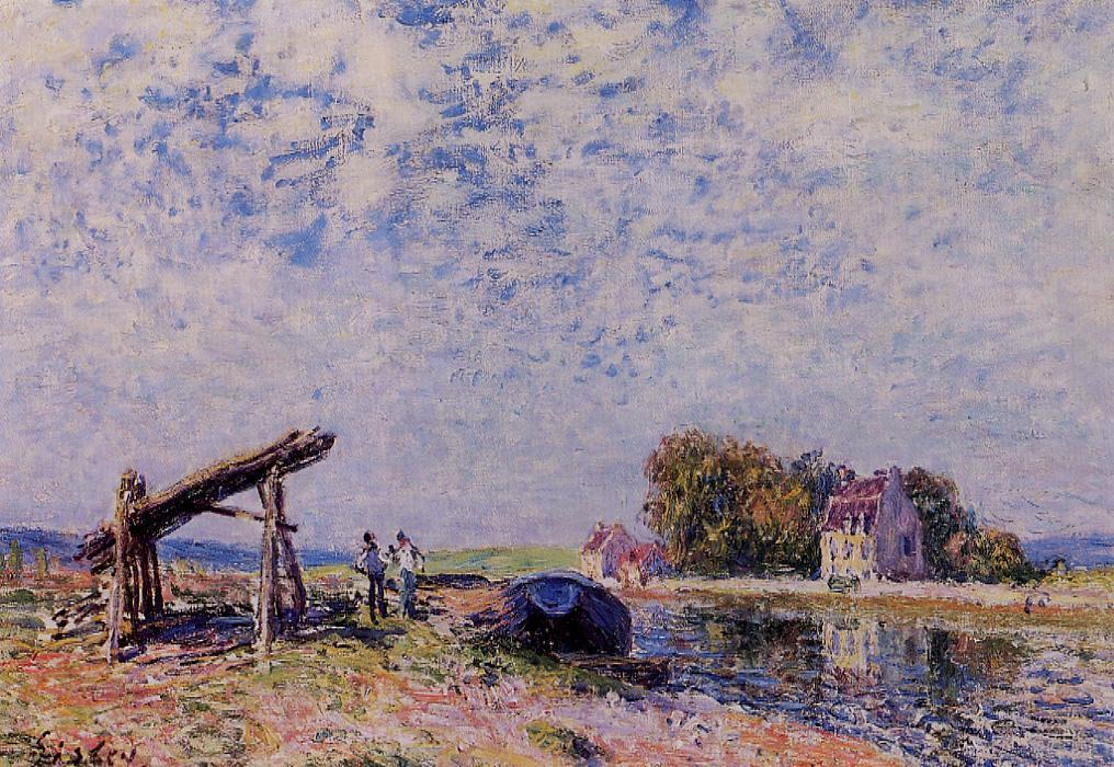 The Loing Canal at Saint Mammes, Oil On Canvas by Alfred Sisley (1839-1899, France)