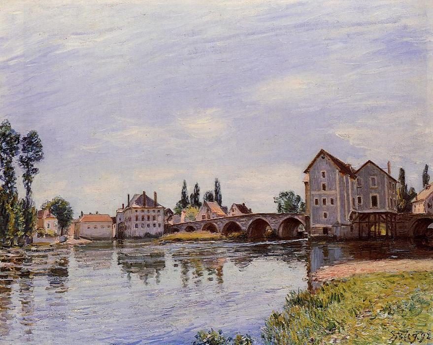 The Loing Flowing under the Moret Bridge, 1892 by Alfred Sisley (1839-1899, France) | Oil Painting | WahooArt.com