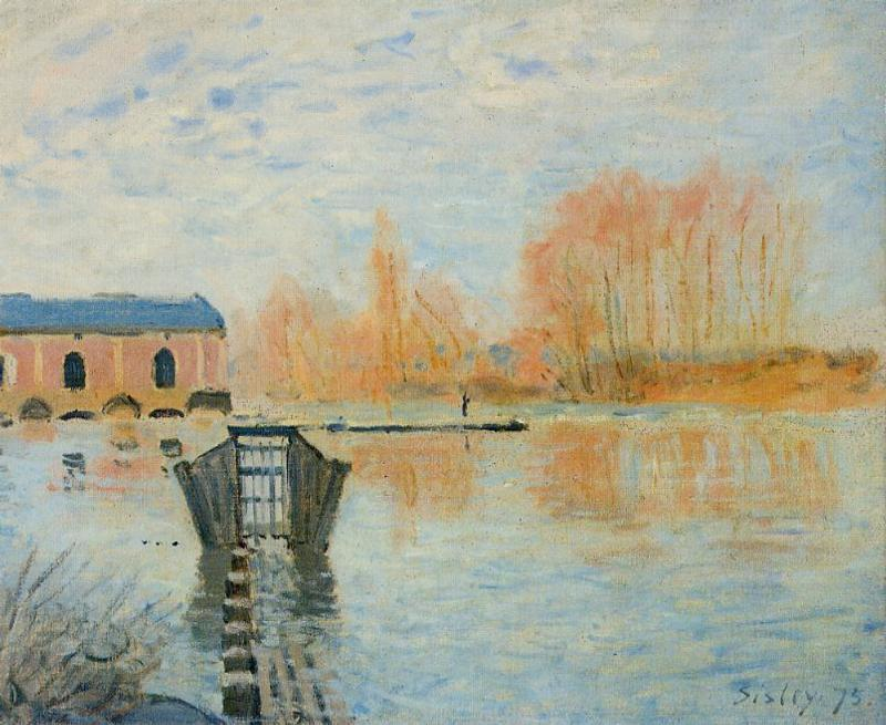The Marly Machine and the Dam, 1875 by Alfred Sisley (1839-1899, France) | Museum Quality Reproductions | WahooArt.com