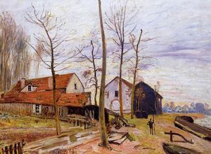 Alfred Sisley - The Mills of Moret, Sunrise