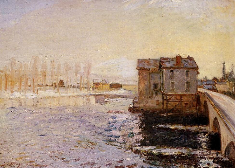 The Moret Bridge and Mills under Snow, 1890 by Alfred Sisley (1839-1899, France) | Oil Painting | WahooArt.com