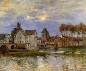 Alfred Sisley - The Moret Bridge at Sunset