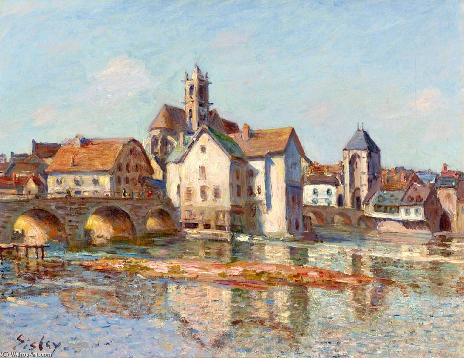 The Moret Bridge, Oil On Canvas by Alfred Sisley (1839-1899, France)