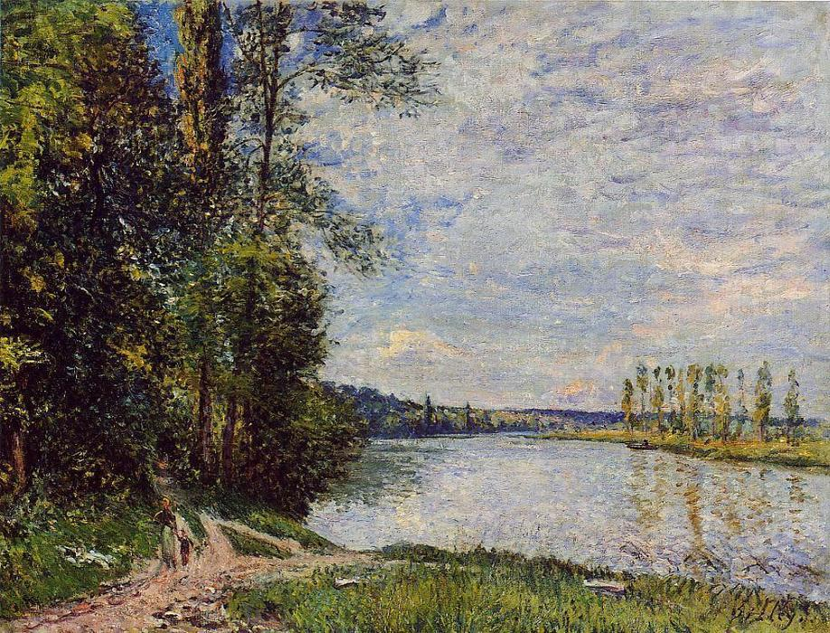 The Path from Veneux to Thomery along the Water, Evening by Alfred Sisley (1839-1899, France) | Painting Copy | WahooArt.com