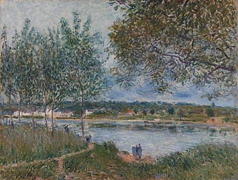 The Path to the old Ferry at By, Oil by Alfred Sisley (1839-1899, France)
