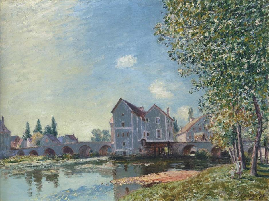 The Pont at Moret Afternoon effect, Oil On Canvas by Alfred Sisley (1839-1899, France)