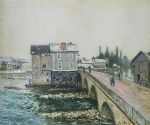 Alfred Sisley - The Pont at Moret in Winter