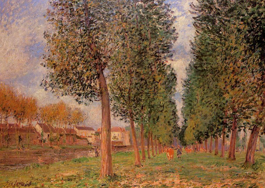 The Poplar Avenue at Moret, Cloudy Day, Morning, 1888 by Alfred Sisley (1839-1899, France) | Painting Copy | WahooArt.com