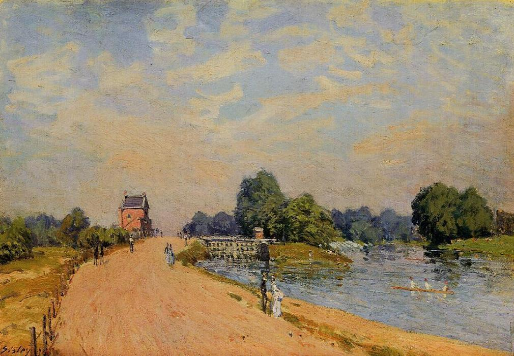 The Road from Hampton Court, Oil On Canvas by Alfred Sisley (1839-1899, France)