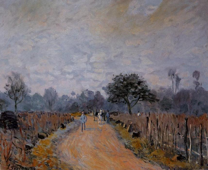 The Road from Prunay to Bougival, Oil On Canvas by Alfred Sisley (1839-1899, France)