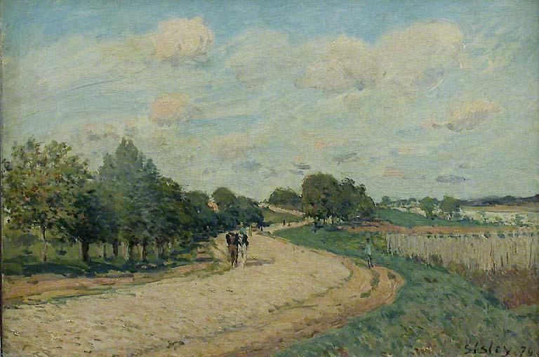 The Route to Mantes, Oil On Canvas by Alfred Sisley (1839-1899, France)