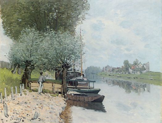 The Seine at Bougival 6, Oil by Alfred Sisley (1839-1899, France)