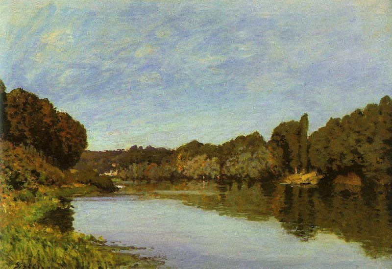 The Seine at Bougival, 1873 by Alfred Sisley (1839-1899, France) | Famous Paintings Reproductions | WahooArt.com