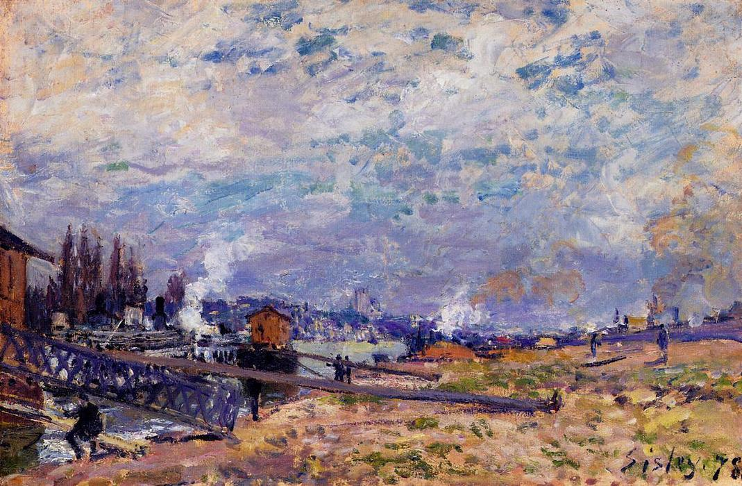 The Seine at Grenelle, Oil On Canvas by Alfred Sisley (1839-1899, France)
