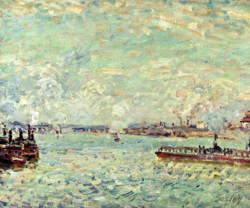 The Seine at Point du Jour, Oil On Canvas by Alfred Sisley (1839-1899, France)