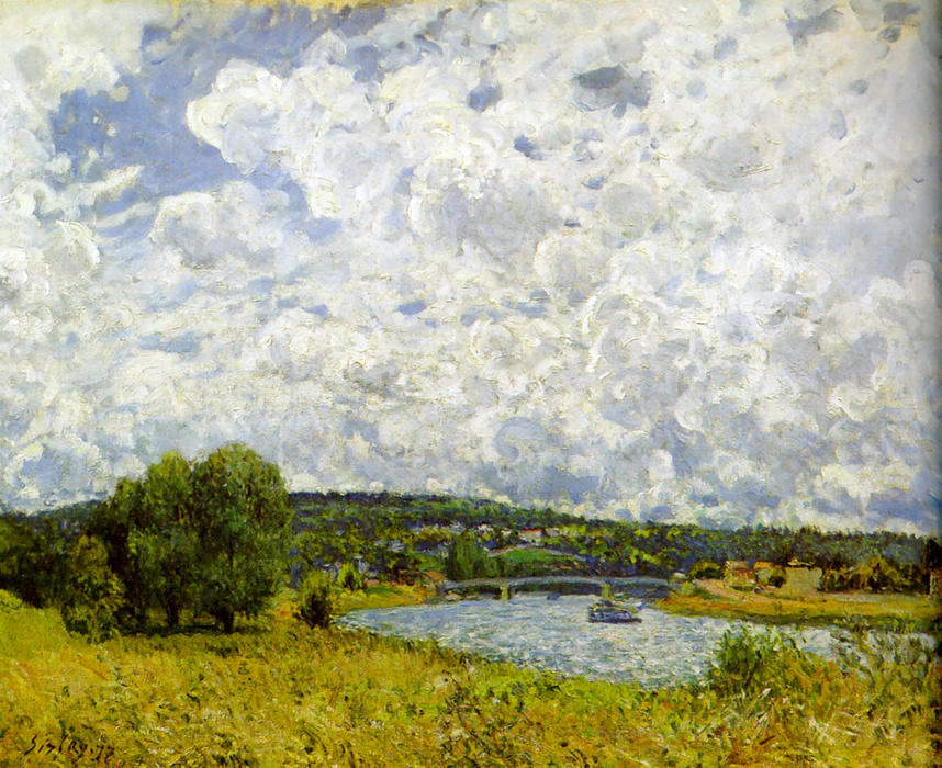 The Seine at Suresnes, Oil On Canvas by Alfred Sisley (1839-1899, France)