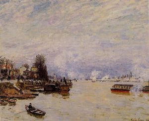 Alfred Sisley - The Seine, View from the Quay de Pont du Jour