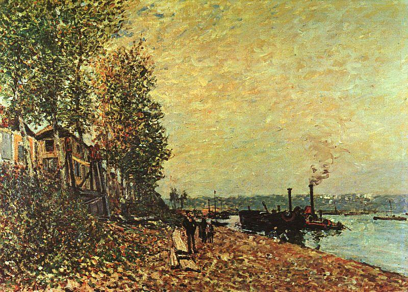 The Tugboat, Oil On Canvas by Alfred Sisley (1839-1899, France)