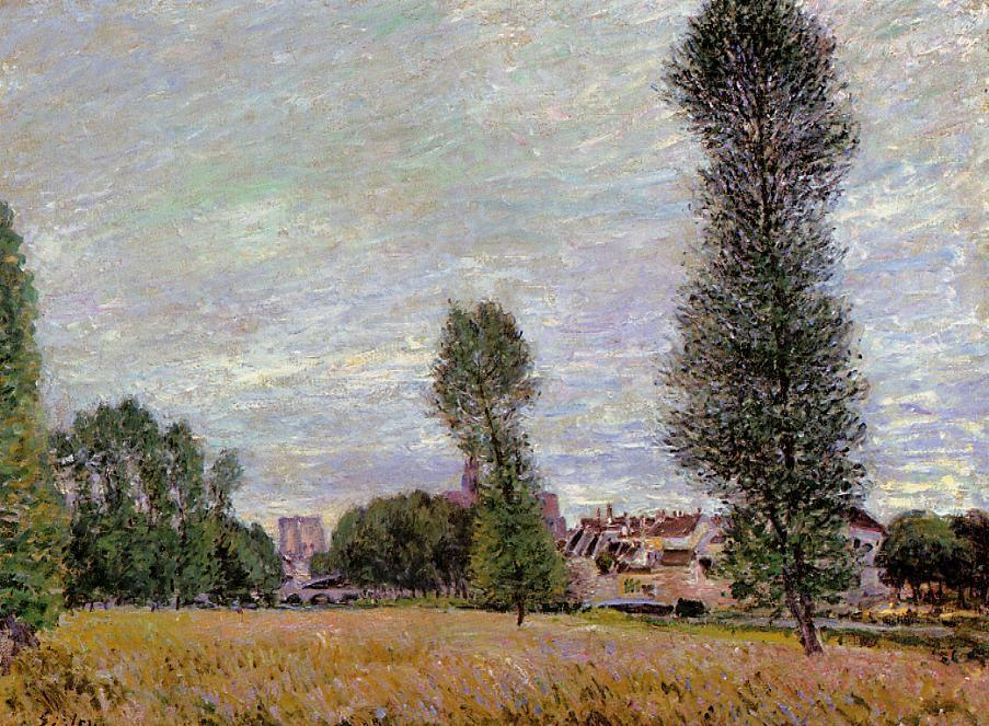 The Village of Moret, Seen from the Fields, Oil On Canvas by Alfred Sisley (1839-1899, France)