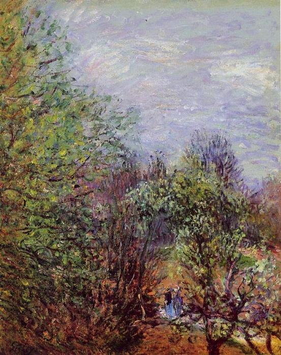Two Women Walking along the riverbank, Oil On Canvas by Alfred Sisley (1839-1899, France)