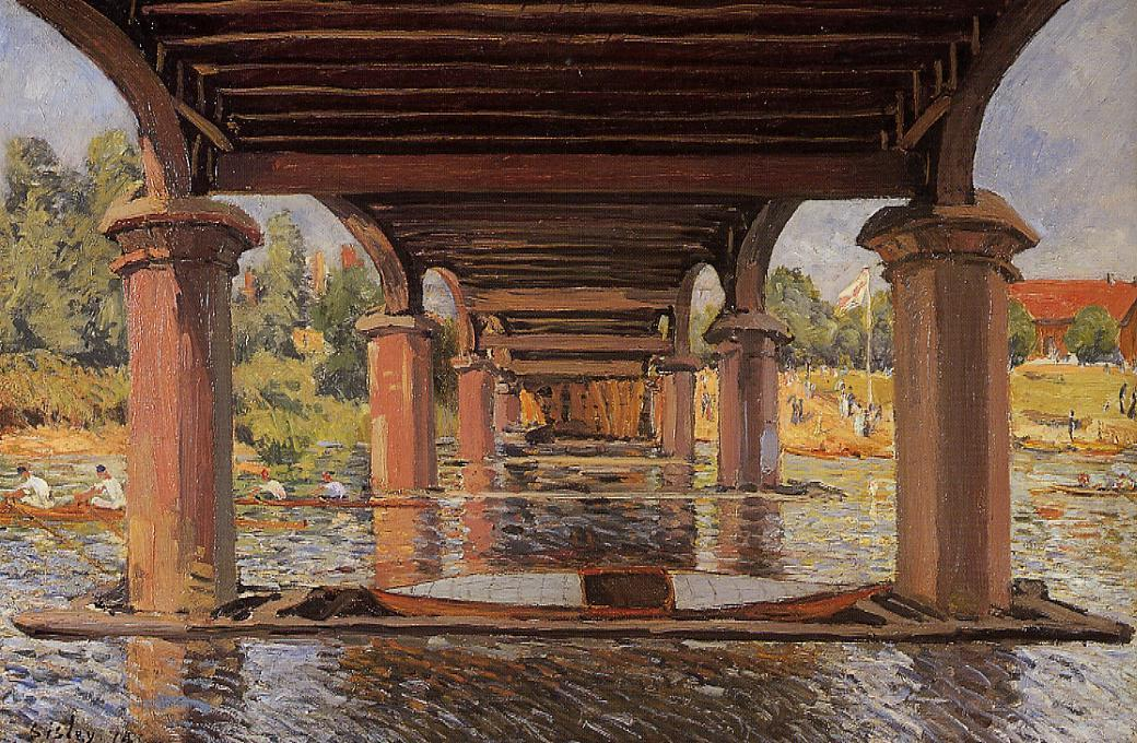 Under the bridge at Hampton Court, 1874 by Alfred Sisley (1839-1899, France) | Art Reproduction | WahooArt.com