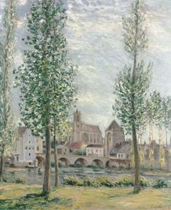 Alfred Sisley - View of Moret sur Loing through the Trees