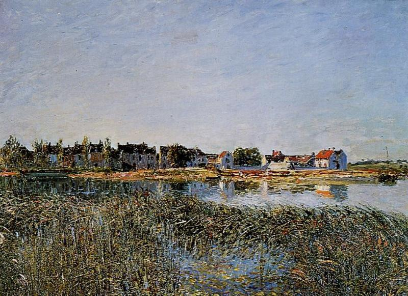 View of Saint Mammes, Oil On Canvas by Alfred Sisley (1839-1899, France)