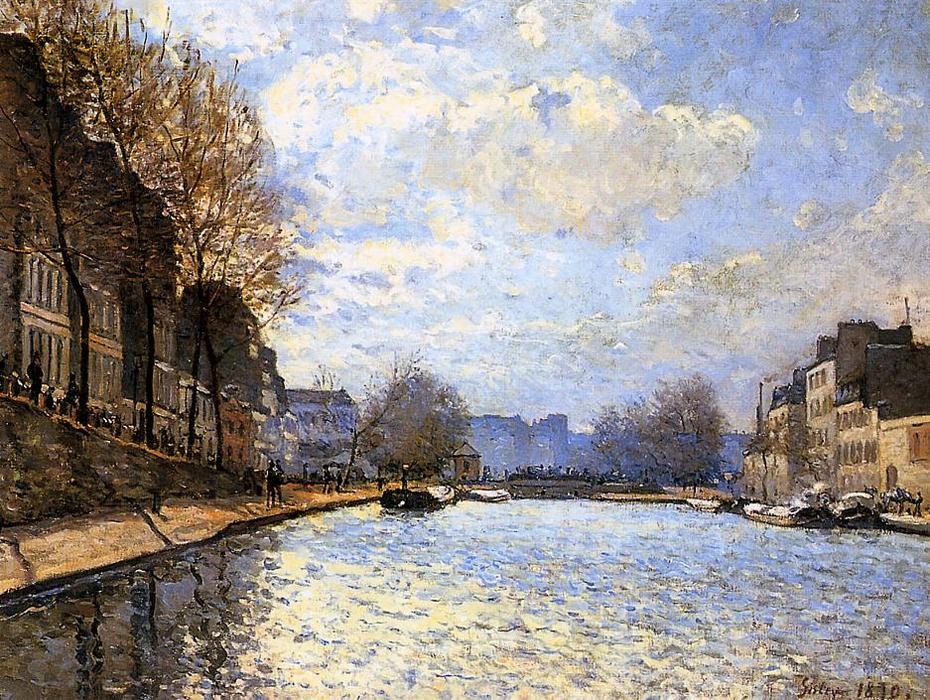 View of the Canal St. Martin, Oil by Alfred Sisley (1839-1899, France)