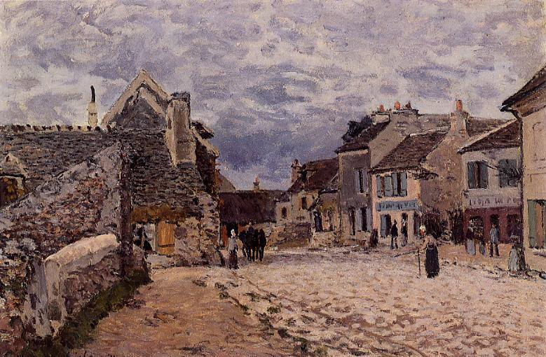 Village Street Grey Weather, 1874 by Alfred Sisley (1839-1899, France) | Art Reproduction | WahooArt.com