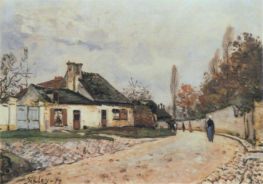 Voisins Street in Louveciennes, Oil On Canvas by Alfred Sisley (1839-1899, France)