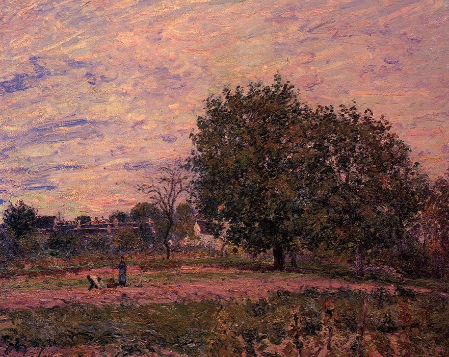 Walnut Trees, Sunset Early Days of October, Oil On Canvas by Alfred Sisley (1839-1899, France)