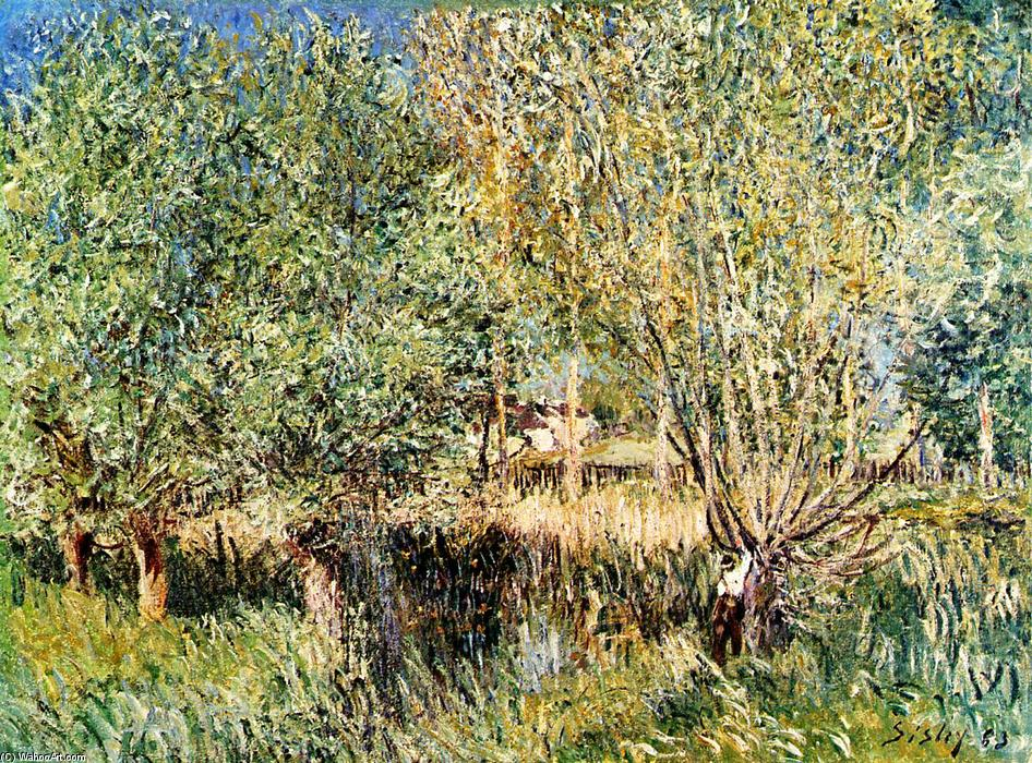 Willows on the Banks of the Orvanne, 1883 by Alfred Sisley (1839-1899, France) | WahooArt.com